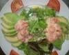 Salade d'avocat crevettes sauce cocktail
